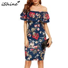 f5384f17ce 2018 New Women Summer Party Dress Office Dresses Floral Print Elegant Party  Off Shoulder Ruffles Bodycon