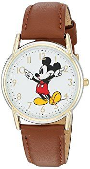 Disney Women's 'Mickey Mouse' Quartz Metal Casual Watch, Color:Brown (Model: W002756)