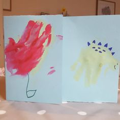 """45 Likes, 2 Comments - Sinead Gately (@shingately) on Instagram: """"Creative morning with the little person  #handmadecards #handprint #7monthsold #flower #dinosaur…"""""""