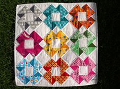 "Don't you love this block? It is called ""Night Vision"" and I found it rather hard to find a template or instructions for it online. Found on the iPhone app called  Quick and Easy Quilt Block Tool that is definitely worth checking out. For this particular block it gives you instructions for 3"", 6"", 9"", 12"" and 15"" sizes."