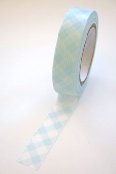 Washi Tape  15mm  Baby Blue Gingham Design on White  by InTheClear, $3.30