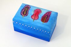 Blue trinket box - Original Hand painted jewelry box -  Jewelry storage-  Wooden jewelry box - Keepsake box -  Wooden box Gift for her -  Decorative boxes