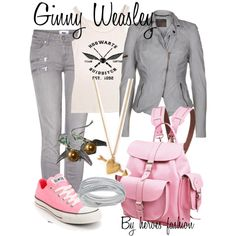 Ginny Weasley by heroes-fashion on Polyvore featuring MuuBaa, Paige Denim, Converse, Grafea, Swarovski and Forever 21