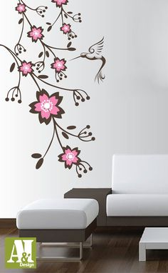 Wall Stickers Living Room Amazing Escape 109 Best Images Paintings Murals Vinyl Sticker Decal Blossom Branch With Hummingbird Bedroom