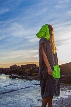2110bc0059 Poncho Towel - MOOD JUICE GREEN / Charcoal Hooded towel adult surf round  towels Round Towels