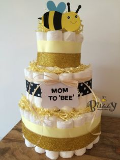 Mom to Bee Bumble Bee Diaper Cake for Gender Neutral Baby Shower Centerpiece…