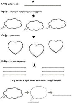 Sytuacje = emocje, myśli, zachowania. - Play Therapy, Speech And Language, Kids And Parenting, Diy And Crafts, Homeschool, Education, Children, Speech Language Therapy, Therapy