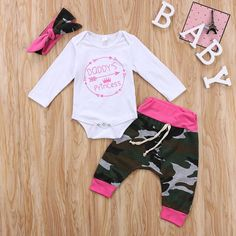 Baby Boys Girls Mamas Boy and Daddys Princess Long Sleeve Romper Camouflage Pants Hat Headband 3pcs Outfit Set 06 Months Daddys Princess >>> Read more reviews of the product by visiting the link on the image.-It is an affiliate link to Amazon. #BabyClothi https://presentbaby.com