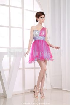Beading Short/ Mini One Shoulder A-Line Cocktail Dress/ Homecoming Dress Wholesale Price: US$117.99