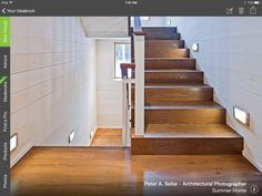 Warm wood steps with great lighting.