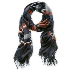 I just bought this beautiful scarf! Navy, bronze, and grey Joe Fresh™ Striped Scarf - jcpenney