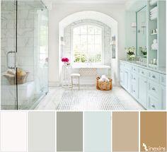 @facilisimo - Beige/Marrón/Azul. Esta combinación de tonos te harán sentir como en el más renombrado spa, grises y marrones muy sutiles que hacen que el azul claro, muy claro escogido destaque por encima de todo. ¿No os apetece daros una ducha relajante?