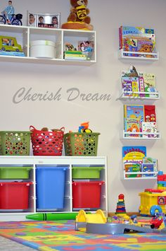 Playroom storage and ikea spice rack turned book case