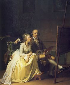 Self Portrait with Wife, 1791, by Jens Juel. #classic #art #painting #artist #couple