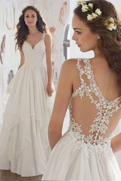 Beach Wedding Dress See Through Backless V Neck Lace Appliques Sequins Beaded Tulle Chiffon . - Beach Wedding Dress See Through Backless V Neck Lace Appliques Sequins Beaded Tulle Chiffon Custom - Wedding Dress Chiffon, Backless Wedding, Lace Dress, Lace Chiffon, White Chiffon, Tulle Wedding, Gown Wedding, Wedding Makeup, Chiffon Dresses