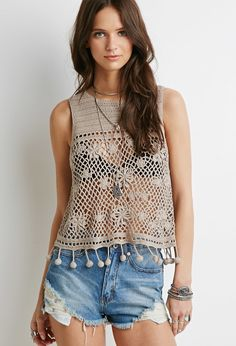 Forever 21 is the authority on fashion & the go-to retailer for the latest trends, styles & the hottest deals. Shop dresses, tops, tees, leggings & more! Crochet Tank Tops, Crochet Blouse, Crochet Top, Forever 21, Hippie Tops, Knitwear Fashion, Hippie Chic, Crochet Clothes, Blue Tops