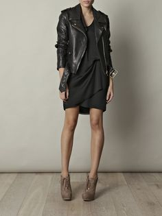 15393d94dc leather jacket with grey joie dress and lace up steven booties Leather  Jacket Dress