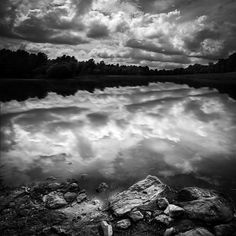 Lake Auburn Twilight - Original fine art black and white night landscape photography by Bob Orsillo.  Twilight walk along the rocky shore. Lake Auburn, Maine.  Copyright (c)Bob Orsillo / http://orsillo.com - All Rights Reserved.  Buy art online.  Buy photography online