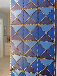 DIY: geometric upholstered door  I would love to have my studio door look like this!