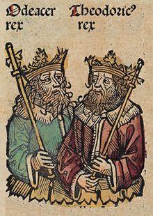 """Les rois ODOACRE et Theodoric (Nuremberg, 15°s) Odoacre était probablement d'origine Skire; peuple allié des Huns et passa sa jeunesse à la cour d'Attila.- CHILDERIC 1°- 2.3.3: LUTTE CONTRE LES SAXONS: BATAILLE D'ANGERS (469): Avec l'appui Romain et Franc, le """"comes"""" (ou comte) romain  PAUL déclare la guerre aux WISIGOTHS. En 469, ODOVACRIUS (Eadwacer ou Adovacrius) menace ANGERS avec ses SAXONS. Childeric arrive le jour suivant et le défait."""