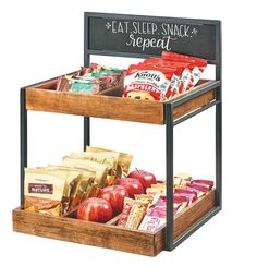 Item: 3607-13   2 Tiered Condiment Holder with Chalkboard Made of a metal frame, chalkboard sign, and wood trays, this product is perfect for not only organizing displays but also for labeling! The chalkboard is easy to clean, just wipe with a damp rag.