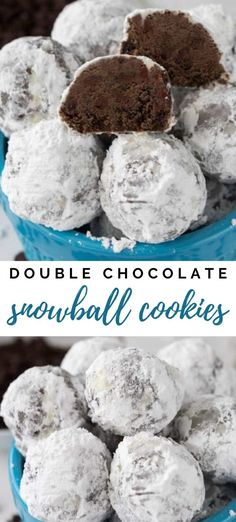 Double Chocolate Snowball Cookies - These Double Chocolate Snowball Cookies are my most favorite Russian Teacake recipe yet! They're full of rich cocoa powder and chocolate chips – NUT FREE! Source by crazyforcrust Chocolate Chip Cookies, Chocolate Snowballs, Chocolate Chips, Chocolate Art, Vegan Chocolate, Chocolate Recipes, Snowball Cookies, Holiday Cookies, Snowball Cake Recipe