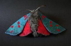 Fabric sculpture Large Six-spot Burnets moth textile от YumiOkita