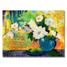 'Yellow Wall' by Sheila Golden Painting Print on Canvas