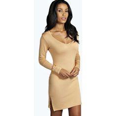 Boohoo Sara Plunge Split Side Mini Dress ($10) ❤ liked on Polyvore featuring dresses, plunging neckline dress, bodycon dress, plunging v neck dress, bodycon cocktail dress and mini dress