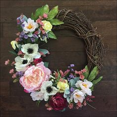 Beautiful Spring Anenome Wreath