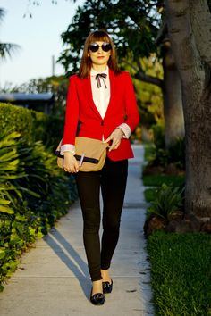 red jacket, skinny jeans, patent leather loafers, short fringe, how to wear bright jacket, summer 2012 fashion, sydney