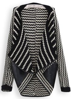 Black White Striped Contrast PU Leather Cardigan pictures