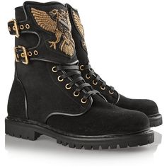 Balmain Eagle Ranger embroidered suede boots ($1,560) ❤ liked on Polyvore featuring shoes, boots, strappy boots, suede boots, rubber sole boots, black boots and black shoes