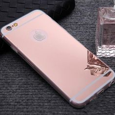Luxury Mirror Electroplating Soft Clear TPU Cases For iphone 6 6 Plus inch 5 SE Back Cover Capa Iphone 5s, Apple Iphone, Iphone Cases, Luxury Mirror, Cat Necklace, 6s Plus, Packing, Rose Gold, Cover