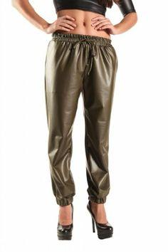 Good Time Women's Matte Faux Leather Elastic Waist Jogger Pant
