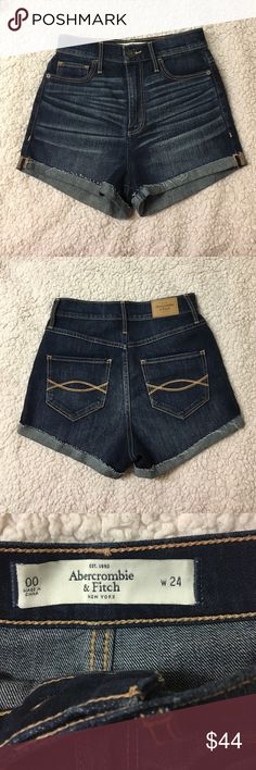 """TAKE 30% OFF A&F High Waisted Denim Shorts Worn only twice. In perfect condition. I'm a size 26 in regular jeans and I love the way this fits me although it's a 24. Exact same fit and style as modeled photo; only a different wash. TAKE 30% OFF ANY ITEM IN MY CLOSET IN CELEBRATION OF MOTHER'S DAY. SIMPLY COMMENT THE CODE """"MOTHER30"""" AND I WILL APPLY THE DISCOUNT. Abercrombie & Fitch Jeans"""