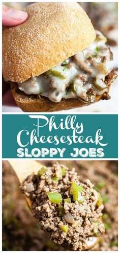 These Philly Cheese Steak Sloppy Joes are made with ground beef, peppers, and served on a toasted bun with Provolone cheese. The perfect easy dinner recipe! Sloppy Joe, Beef Recipes, Cooking Recipes, Jamaican Recipes, Smoker Recipes, Family Recipes, Recipies, Vegan Recipes, Easy Dinner Recipes