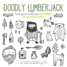 Hand Drawn Doodly Lumberjack Wilderness Forest by LePetiteMarket  Right now, June 2016, spend $15 and get a special 50% Off coupon for your next purchase! xoxo