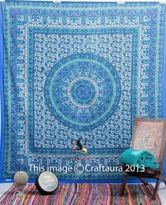 Blue Indian Mandala Tapestry Wall Hanging Hippie Queen Bedspread Throw Decor Art