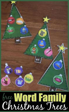 FREE Christmas Tree Word Families Activity - this is such a fun, hands on literacy activity for December. Kids will have fun decorating christmas trees with the correct word family ornaments