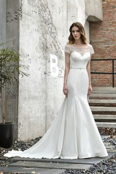 Wedding Dresses - Newland ZhiMei Ivory Crystals Wedding Dresses Cap Sleeves Sheer Neck Beaded Belt Satin Simple Mermaid Bride Dress Wedding Ceremony is the most important moment in women lifetime. Find a great selection and Shop the latest styles here Mermaid Bride Dresses, Satin Mermaid Wedding Dress, Sequin Wedding, Fall Wedding Dresses, Bridal Dresses, Wedding Frocks, Lace Mermaid, Tulle Wedding, Elegant Wedding