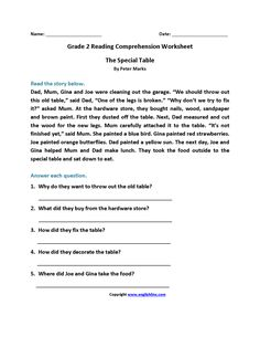 Grade Reading Worksheets - Best Coloring Pages For Kids - melina 2nd Grade Reading Worksheets, 2nd Grade Reading Comprehension, Picture Comprehension, Spelling Worksheets, English Grammar Worksheets, Reading Passages, Nouns Worksheet, Grammar Book, Comprehension Exercises
