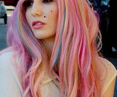 So cool! Rainbow hair is so much fun!