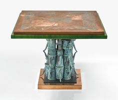 "Armand Jonckers UNIQUE ""JARDINIÈRE"" CENTER TABLE signed and dated ARMAND JONCKERS/1975 patinated metal, resin, copper and resin 29 1/4  x 39 1/4  x 39 1/4  in"