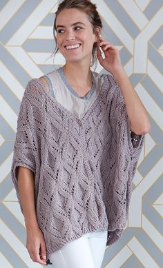Free Knitting Pattern for Diamond Lace Swoncho - Pullover oversized vest poncho with allover lace pattern and buttoned front placket. Knit in 3 pieces and seamed. Designed by Evelyn Hase for Schachenmayr. Free Knitting Patterns For Women, Poncho Knitting Patterns, Knitted Poncho, Lace Knitting, Knit Or Crochet, Big Knits, Lace Vest, Quick Knits, Vest Pattern