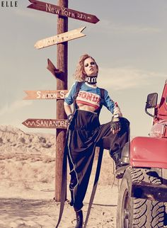 Posing in the desert, Patricia models Frankie Collective top with overall and boots for ELLE Canada Magazine September 2016 issue