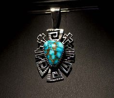 Small Kingman Turquoise Pendant, by Kee Yazzie, Jr.
