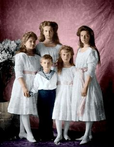 "The Romanov Children c.1911    Reading recommendation:  ""Nicolas and Alexandra: The Classic Account of the Fall of the Romanov Dynasty"", by Robert K. Massie"