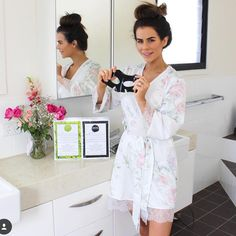 Sophie Guidolin in Homebodii's Sofia Lilac Floral Robe with watercolour floral print