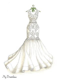 Trendy wedding day gifts for bride bridal Wedding Dress Illustrations, Wedding Dress Sketches, Designer Wedding Dresses, Fashion Illustration Sketches, Fashion Sketches, Dress Drawing, Fashion Design Drawings, Trendy Wedding, Wedding Gifts